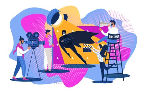 Movie Set Scene Shooting. Superhero Action Picture Making. Cartoon People Film Production Team. Man Actor in Bat Costume Mask. Director Chair, Camera Camcorder, Operator Work, Woman Clapper