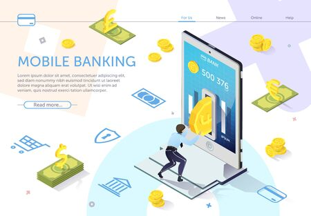 Man Puts Coin into Hole ATM. Mobile Banking. Online Banking. E-Banking System. Online Payment System. Use Mobile Banking Application. Modern Technology. Perform Transaction. Vector Illustration. 일러스트