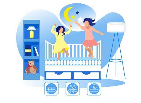 Children Jump on Mattress in Crib. Children Room. Technology Orthopedic Mattress. Mattress from Natural Materials. Health Care. Vector Illustration. Modern Technologies. Home Interior. High Quality.