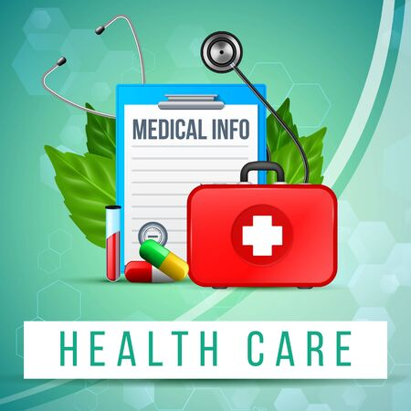 Health Care Banner. Paper Tablet with Clear Notebook Sheet, Doctor Bag with Cross, Stethoscope, Medical Pills and Glass test Tube with Blood and Green Leaves around. Realistic 3d Vector Illustration