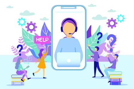 Cartoon Hotline Female Operator on Phone Screen Vector Illustration. Woman Consulting People. Client Assistance Mobile Phone App. Assistant Online Helpline Hotline. Customer Call Helpdesk