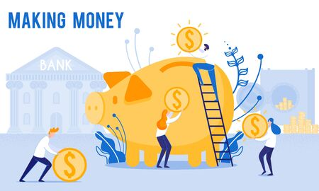 People Put Money in Piggy Bank. Making Money. From Poverty to Wealth. Achieve Goal. Vector Illustration. Way to Victory. Earn Money. Financial Stability. Bank Money System. Toss Coins into Piggy Bank. 일러스트