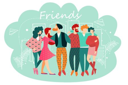Friends Banner. Cartoon People Standing Together Vector Illustration. Group of Man Woman Character Hug Hold Hand. Best Friend Forever. Friendship Relationship Concept. Hipster Team United