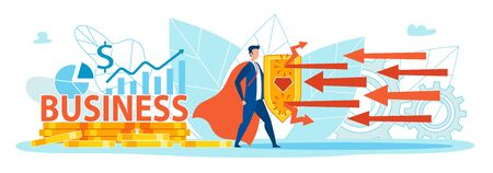 Superhero Holding Shield Protecting Business Flat Cartoon Banner Vector Illustration. Saving Business from Problems. Coins, Charts and Graphs on Background. Red Arrows Fighting Man with Cloak.