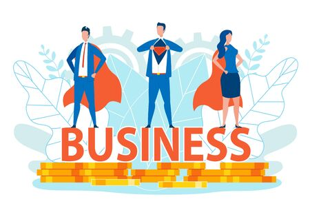 Business Men and Woman in Super Hero Costumes Standing on Business Writing on Golden Coins or Money Flat Cartoon Banner Vector Illustration. Team Workers in Office Suits. Achieving Success. Иллюстрация
