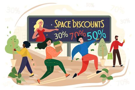 People Run with Bags in Hands. Advertising Board with Inscription Space Discounts. Digital Marketing. Vector Illustration. Teamwork. People Rush to Sale. Women with Box and Package in Hand.