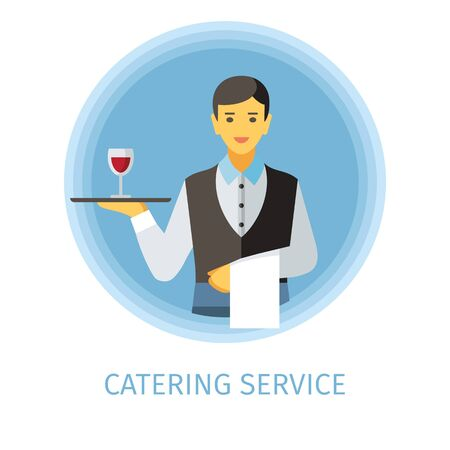 Waiter flat vector character. Catering service cartoon illustration. Man holding serving tray with glass of wine, napkin. Butler, servant clipart. Cafe, restaurant, bar isolated design element 일러스트