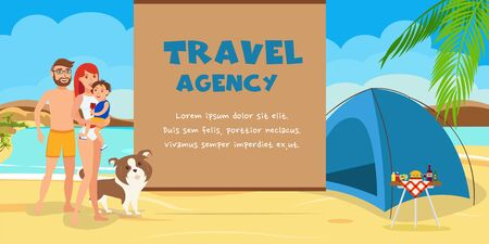 Family vacation cartoon vector banner template. Sea resort activities. Parents with kid and dog near tent flat characters. Beach camping, picnic, barbecue. Travel agency color illustration with text