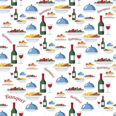 Catering and restaurant seamless vector pattern. Wine bottles, salad, hot dishes, tray with lid. Food, meal items background, backdrop. Banquet. Wrapping paper, kitchen textile, wallpaper, design idea Archivio Fotografico - 129489942
