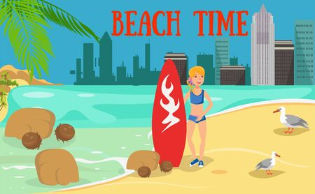 Female surfer flat character. Young woman with surfboard and seagulls. Surfing advertising. Summertime activities. Holidaymaker, tourist cartoon illustration. Beach time lettering. Banner concept Illusztráció