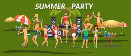 Summer party banner flat template. Sea resort. Young people in swimsuits dancing, listen to music on beach. Teenage holidaymakers, tourists cartoon characters. Beach time illustration with lettering Illusztráció