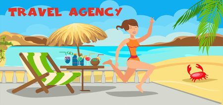 Sea resort travel agency flat illustration. Tropical island rest. Deck chair, umbrella, cocktails all inclusive. Happy young woman show peace sign cartoon character. Summertime horizontal banner Illusztráció