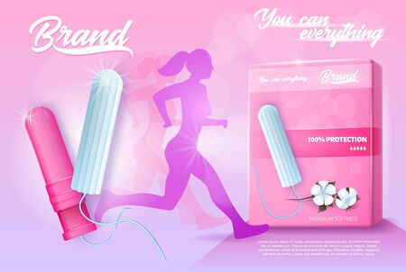 Feminine Hygiene Products. Running Woman Silhouette. Pink Banner Ad. Pack of Tampons. Cotton Sanitary Tampons with Applicators. Comfort and Protection Concept.