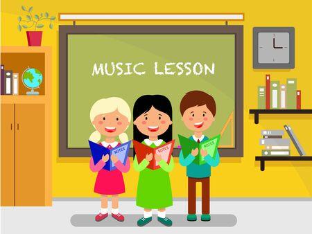 School subject flat design illustration. School Children sing song near blackboard. Schoolkids, pupils, classmates cartoon characters.