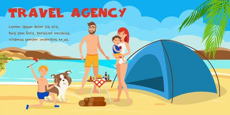 Family summer rest cartoon vector illustration. Sea resort activities. Parents with kids near tent flat characters. Beach camping, picnic, barbecue. Travel agency color banner template with text Illusztráció