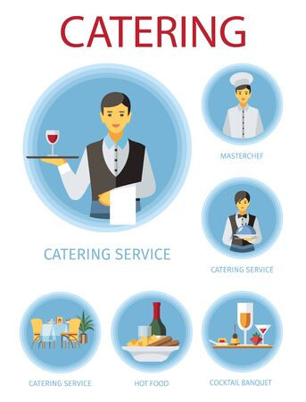 Banquet service flat illustrations set. Restaurant, cafe, cafeteria cartoon design elements. Waiters, barmen, chef cook and food cliparts collection. Poster, web banner, website page vector drawings