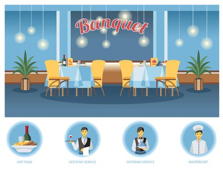 Banquet room, hall flat illustration. Restaurant, event center interior design. Waiters, barmen, chef cook and menu cliparts. Served tables. Catering service poster, web banner, website page concept Foto de archivo - 129490023