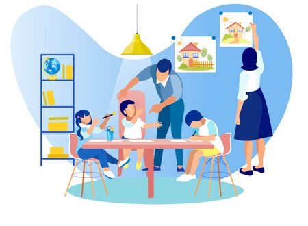 Mother and Father Spending Time with Little Kids, Children Drawing Sitting at Table, Woman Hanging Picture on Wall, Man Communicating with Babies. Kindergarten Class Cartoon Flat Vector Illustration Standard-Bild - 129490025