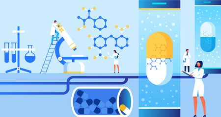 Characters Doing Scientific Researches and Experiments at Laboratory Banner Vector Illustration. Medical Equipment Test Tubes, Flasks. Clinical Diagnostics Center. Examining Pharmaceutical Medication. 일러스트