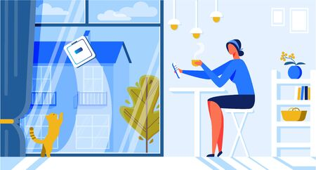 Help for Woman Robot Window Cleaner Cartoon Flat. Interior Kitchen or Dining Room Apartment where Cats Live. Girl Sits at Table and Drinks Hot Drink.