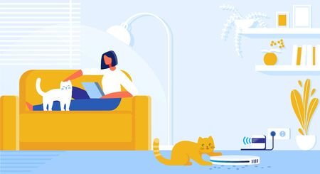 Vector Illustration Home Robot Cleaner Cartoon. Interior Living Room in Apartment where Cats Live. Girl Lying on Couch with Laptop. Robot Vacuums Trash and Wool From Pets on Floor Flat.  イラスト・ベクター素材
