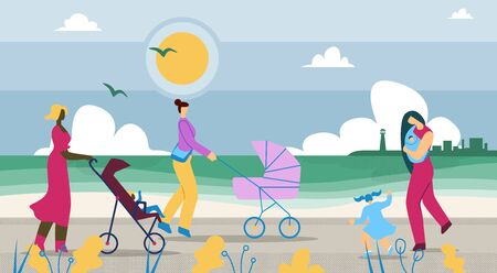 Mothers Walk with Children Along Coast Cartoon. Pleasant Walk in Countryside. Mothers Ride Strollers with Children.