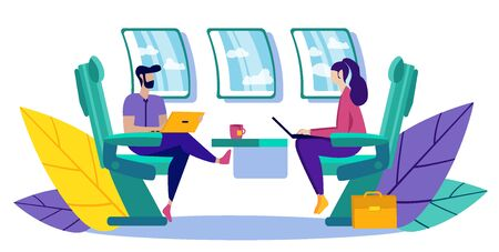 Business Partners Flying in Aircraft. Partnership in Business. Vector Illustration. New Technologies. People Work on Laptop. Communication Business Partners. Presentation New Technologies.