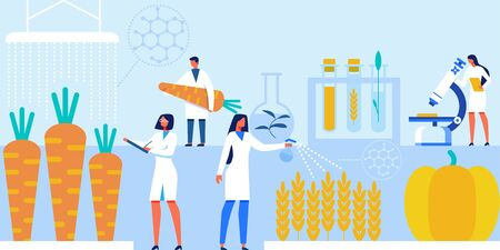 Scientists with Laboratory Equipment and Artificial Food Products Banner Vector Illustration. Genetically Modified Vegetables.