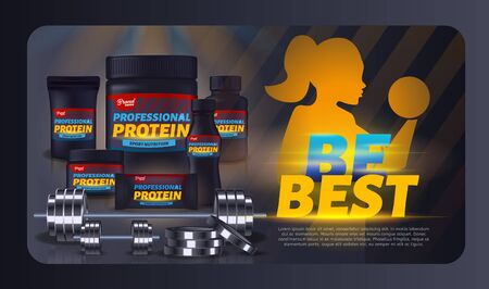 Sport Nutrition, Protein Whey Supplement Container Packaging Mock Up Set, Black Plastic Jar, Pack, Woman Pumping Muscles with Dumbbell Design. Sports Food Ad Banner Realistic 3d Vector Illustration  イラスト・ベクター素材
