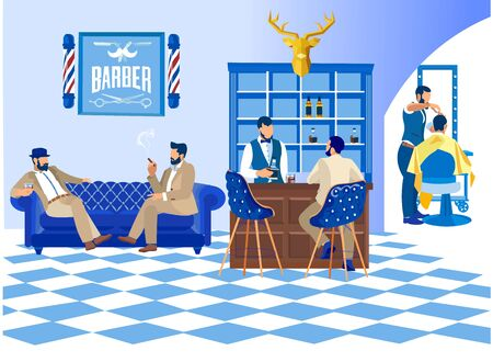 Barber Doing Client Haircut in Men Beauty Salon Barbershop. Customers Waiting on Couch Drinking Alcohol and Smoking Cigars, Interior Decoration with Chairs, Bar Desk, Cartoon Flat Vector Illustration Ilustração