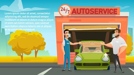 Round The Clock Car Service Cartoon Vector Concept with Auto Service Smiling Worker or Mechanic Giving Keys to Happy Owner After Finishing Vehicle Diagnostics or Spare Parts Replacement Illustration