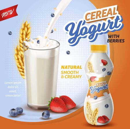 Poster is Written Cereal Yoghurt with Berries. Natural Smooth and Creamy. Foreground Large Glass Filled with Yogurt on Background Ripe wheat Ears. Plastic Bottle With Yogurt. Vector Illustration. Stock Vector - 129490035