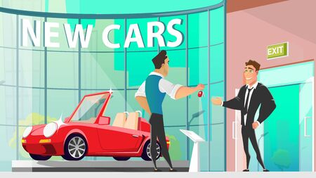 Buying New Luxury Car in Auto Salon Cartoon Vector with Dealer Center Manager Giving Keys from Modern Cabriolet Sport Car to Happy Owner Illustration. Businessman Reaching Success in Business Concept Stock Illustratie