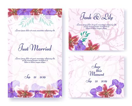 Wedding Invitation Frames Set in Floral Style. Green Leaves, Red Lily and Purple Orchid Flowers Decoration on Marble Backdrop. Text and Event Date. Spouses Names and Greetings. Vector Illustration