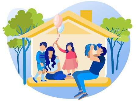 Happy Family in House. Mom, Dad, Daughter and Two Little Sons at Home. Father Kissing Baby Boy, Girl Holding Balloons, Elder Kid Hugging Mother. Faceless Characters. Cartoon Flat Vector Illustration Иллюстрация