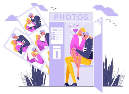 Couple in Love Sitting in Photo Booth Cabin and Taking Photos Flat Cartoon Vector Illustration. Man and Woman Having Romantic Shots, Different Portraits. Boyfriend and Girlfriend on Date. Фото со стока - 129489897
