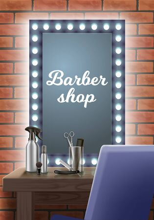 Hairdresser Workplace. Mirror in Barbershop. Barber Tool Kit. Hair Styling Product. Tools on Table in Barbershop. Vector Illustration.