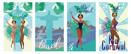 Set Poster Invitation Brazil Rio Carnival Flat. Historical Sights Brazil. Women Dance against Backdrop Huge Statue. Annual National Carnival Event. Woman in Bathing Suit and Feathers Posing. Stock Illustratie
