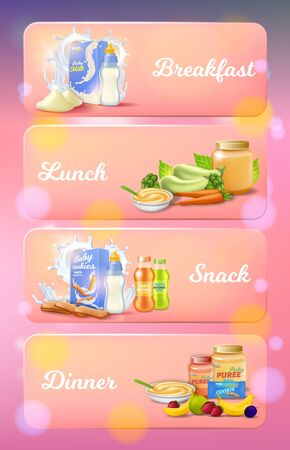 Baby Food Ad Banners Set, Breakfast, Lunch, Snack, Dinner Products for Kids Nutrition, Fruit and Vegetable Puree, Mashed, Cookies Package on Pink Blurred Background, 3d Vector Realistic Illustration