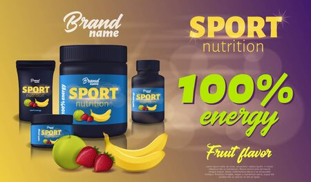 Sport Nutrition, Fruit Flavour, Protein Whey Supplement Container Package Mockup, Black Plastic Jar with Cap, Strawberry, Banana, Apple Design. Sports Food Ad Banner. Realistic 3d Vector Illustration