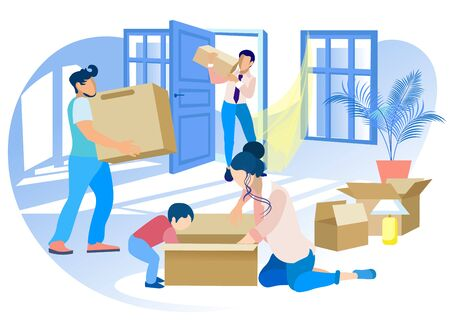 Happy Family Moving into New House. Mother and Little Son Unpacking Cardboard Box, Dad and Worker Carry Things at Home. People Buying Real Estate Apartments for Living Cartoon Flat Vector Illustration