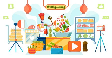 Male Character Blogger in Chef Toque Recording Video of Healthy Cooking on Camera with Spotlights and Organic Food around. Social Media Network Motion Eco Nutrition. Cartoon Flat Vector Illustration.