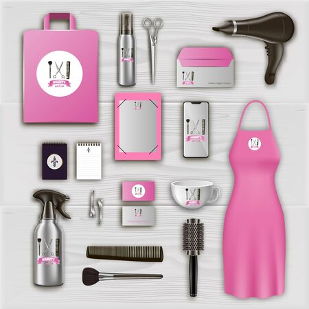 Pink Logo on Items in Beauty Salon. Barber Tool Set. Hair Styling Product. Scissors and Hairdryer on Table. Tools on Table in Beauty Salon. Vector Illustration. Gray Background. Hairdressing Supplies.