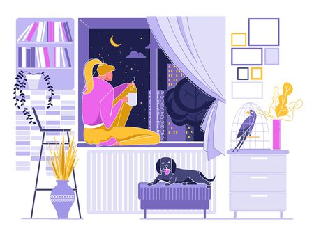 Girl Drinking Hot Tea or Coffee near Window, Night Sky with Moon and Stars Outside Flat Cartoon Vector Illustration. Woman Thinking. Room Interior with Dog on Chair, Bird in Cage. Book Shelf.