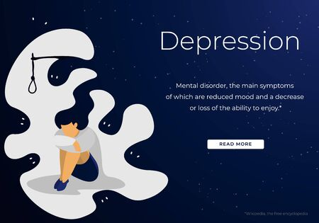 Depressed and Anxious Young Woman Suffering of Depression and Anxiety Problem Feeling Frustrated Sitting with Rope Loop above Head Sad and Desperate Cartoon Flat Vector Illustration, Horizontal Banner Illusztráció