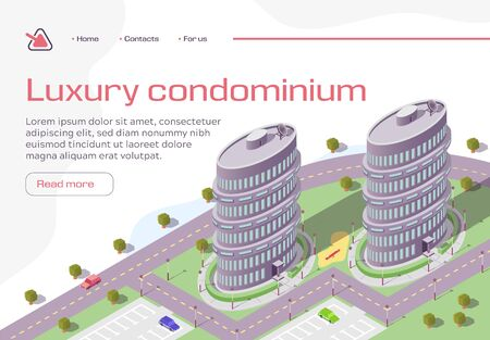 Luxury Condominium Horizontal Banner, Buildings, Real Estate Residential Complex, Multi-Storey House Construction, Investment Project. Apartment for Rich People Living Isometric 3d Vector Illustration 일러스트