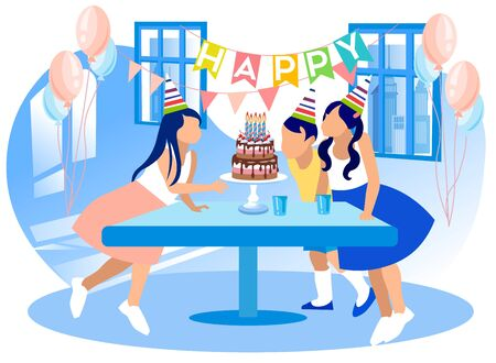 Group of Kids Celebrating Happy Birthday. Children at Table with Sweet Food Watching Girl Blowing Candles on Festive Cake on Colorful Balloons and Garland Background. Cartoon Flat Vector Illustration
