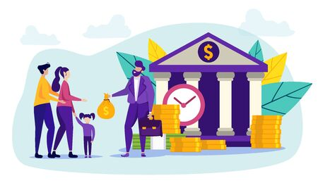 People and Bank Worker. Cash Contribution. Father, Mother and Child Carry Money to Bank. Coins and Banknotes. Buying Home in Installments. Family and Bank Manager. Vector Illustration.