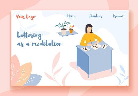Lettering as a Meditation Horizontal Banner. Young Woman Sitting at Table with Pen in Hand Practicing Calligraphy, Writing Letters, Script, Creative Hobby Recreation. Cartoon Flat Vector Illustration