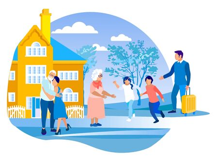 Parents Bringing Children on Summer Vacation at Grandparents Home, Kids Running to Meet Grandmother, Father Stand with Suitcase, Mother Hugging Grandfather, Summertime Cartoon Flat Vector Illustration